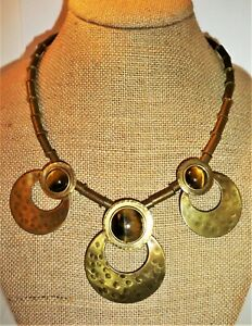Unique-Vintage-Hand-Made-Couture-Chunky-Modernist-Tiger-039-s-Eye-Brass-Bib-Necklace