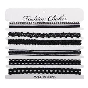 6Pcs-Lot-Gothic-Punk-Black-Velvet-Tattoo-Lace-Collar-Choker-Necklace-Accessories