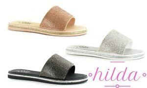 Ladies Womens Ella Mule Slip On Glitter Summer Sliders Beach Sandals Shoes Size