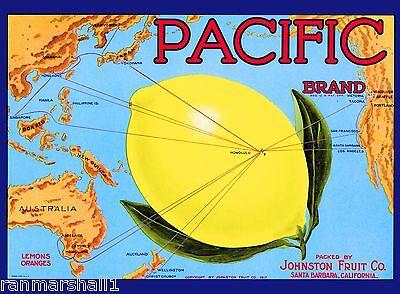 Santa Barbara County Pacific Ocean Lemon Citrus Fruit Crate Label Art Print
