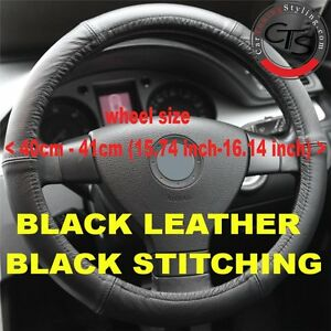 CAR-STEERING-WHEEL-COVER-SIZE-40-41cm-BLACK-LEATHER