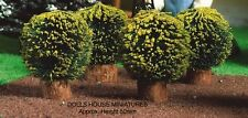 Four Small Round Bushes , Dolls House Miniature 1:12th Scale