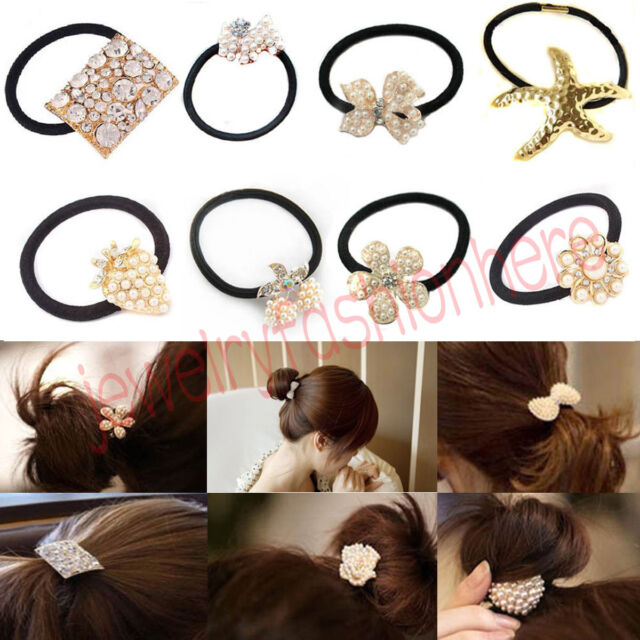 Girls Women Crystal Faux Pearl Bowknot Elastic Hair Holder Rope Band Accessory
