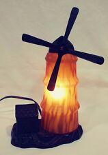 "13"" Amber Art Glass Wind mill & Cast Iron Accent Desk Table Lamp Night Light EUC"