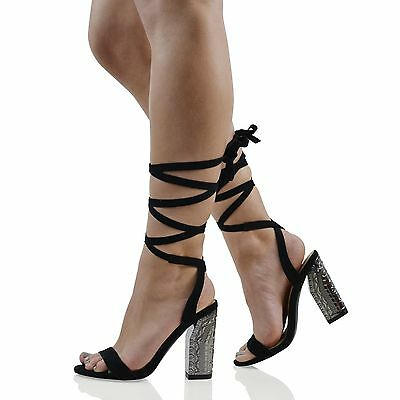 Damen Schnürer Block Mitte Absatz Binder Damen Riemchen Sandalen Schuh Größe