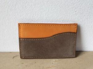 Porte-cartes-cuir-peau-de-peche-orange-et-taupe