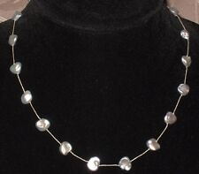 Individualy Hand Knotted Gray Baroque Pearl Necklace w/ 925 Lobster Claw Clasp