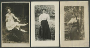 No-4-Lot-of-Three-1910s-Vintage-Real-Photo-Postcards-BEAUTIFUL-WOMEN-LADIES