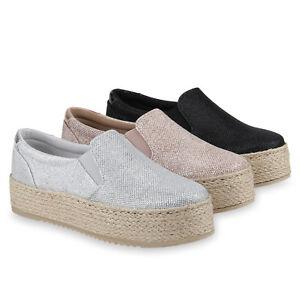 Damen Plateau Sneaker Slip Ons Glitzer Slippers Bast Schuhe 820718 Schuhe