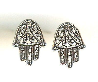 Silverly Womens .925 Sterling Silver 13 mm Filigree Fatima Hamsa Hand Stud Earrings