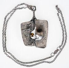 Vintage Gilles Guy Vidal Brutalist Pendant Necklace Modernist Abstract Pewter 19