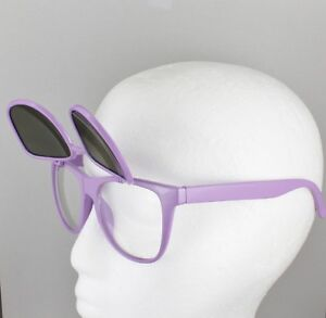 67c44ce0234 Purple frame blue flip up top lens retro 80s style clear sunglasses ...