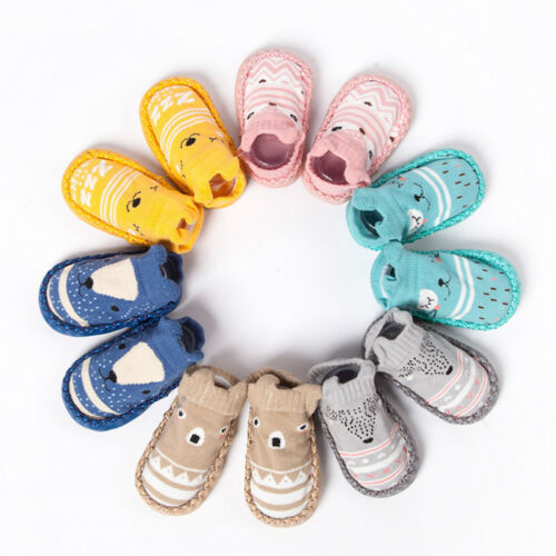 Toddler Baby Girls Boys Kids Cartoon Cotton Anti-Slip Socks Slipper Shoes Boots