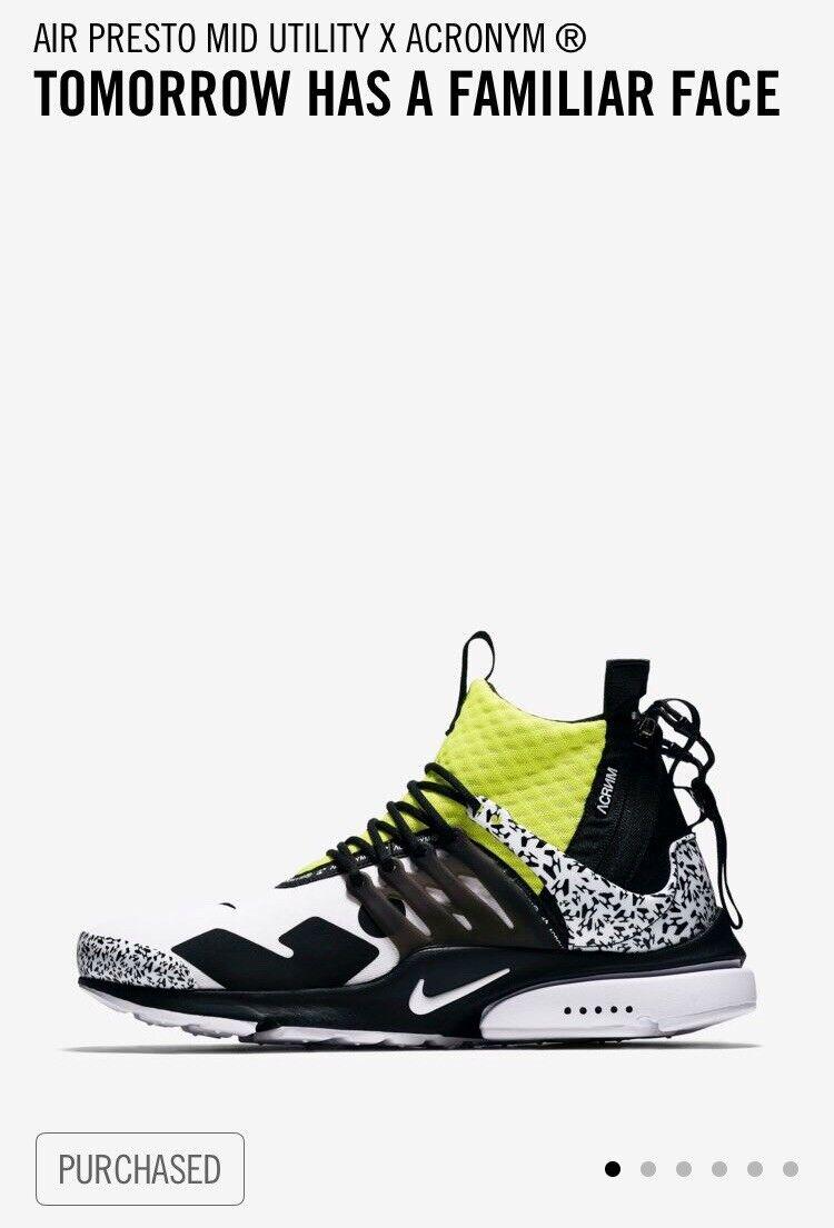 Nike air presto mitte utility x abkürzung weiß - schwarz - dynamische gelb ah7832-100 sz - schwarz 9. 9e94cd