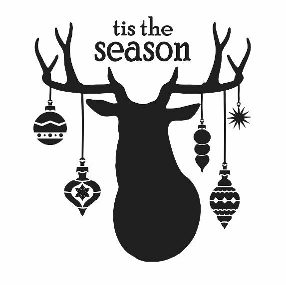 Christmas STENCIL*tis the season deer head ornaments*12x12 for Signs Wood Canvas