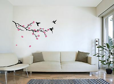 TREE BRANCH with Flowers and Humming Bird - Wall Sticker Bedroom Art Decal