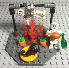Lego New Custom Halloween Fire Burning / Dead Sacrifice W/ Skeleton Mini Figures