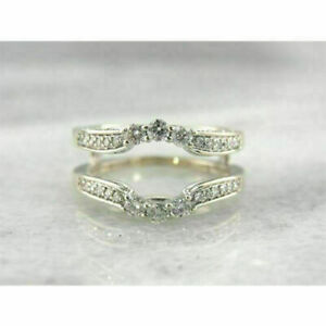 0-25-Ct-Round-Cut-Diamond-Engagement-Enhancer-Wrap-Band-Ring-14K-White-Gold-Over