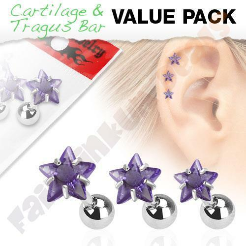 316L Surgical Steel Tragus//Cartilage Stud with Purple Jewelled Star 3 Piece Pack