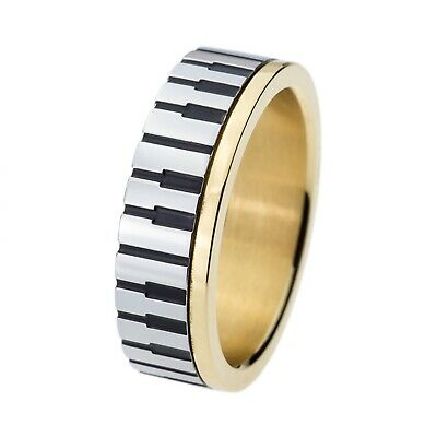 Personalized Piano Key Ring for Musicians Rings Men Women Rings Wedding Anniversary Ring Stainless Steel Rings Free Custom Engraving Ring