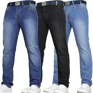 New-Mens-Slim-Fit-Jeans-VON-DENIM-Basic-Work-Heavy-Duty-Pants-Blue-Black