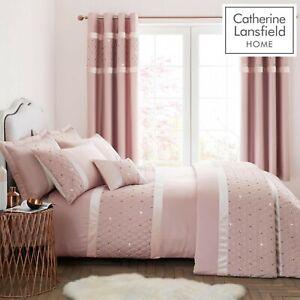 Catherine-Lansfield-lentejuelas-Cluster-Quilt-Duvet-Cover-Dormitorio-Coleccion-Blush
