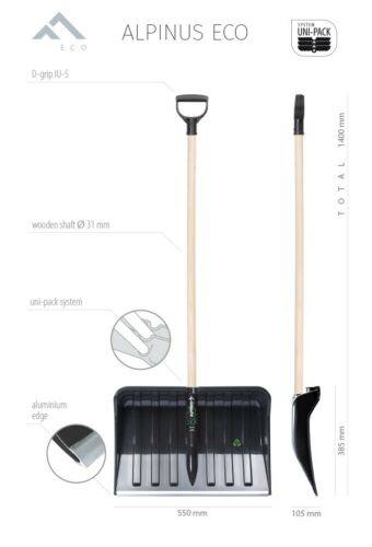 ** ALPINUS ECO Snow Shovel 55cm Lightweight Durable Wooden Shaft Handle TOP **