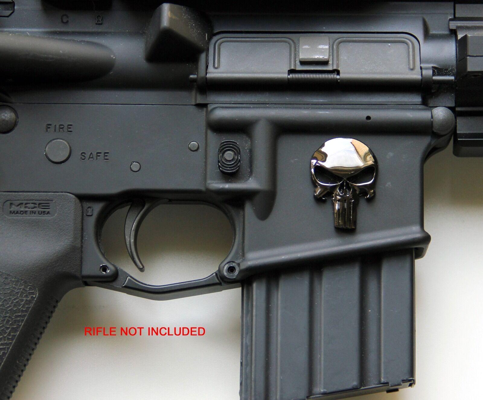 3D Skull Punisher Emblem Badge Sticker Decal for Magwell Rifle Shotgun Pistols Car Jeep BMW Camaro Mustang Silverado