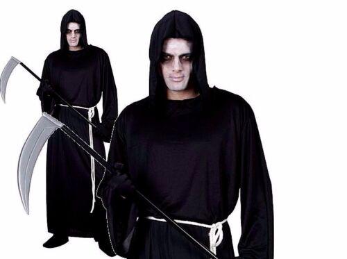 Adult THE GRIM REAPER Halloween Zombie Robe Fancy Dress Costume Mens HM5516