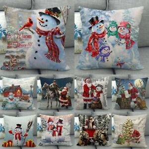 18-034-Snowman-Winter-Cojines-Waist-Throw-Pillow-Case-Sofa-Car-Lumbar-Cushion-Cover