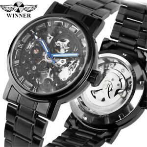 Skeleton-Men-039-s-Automatic-Mechanical-Watch-Steampunk-Stainless-Steel-Band-Winner