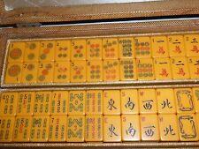 RARE VINTAGE MAH JONGG MAHJONG BAKELITE 161 TILES 2 DICE 5 RACKS & ORIGINAL CASE