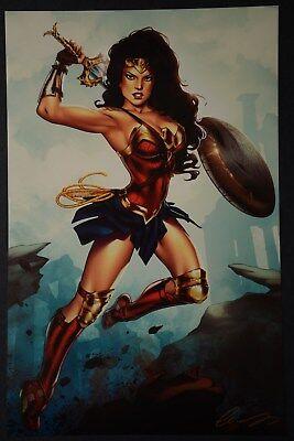 "Wonder Woman 11/""x 17/"" Art Print By Elias Chatzoudis signed   NM"