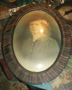 """Antique Vintage Oval CONVEX BUBBLE GLASS PICTURE FRAME Woman 24.5"""" x 18.5"""""""