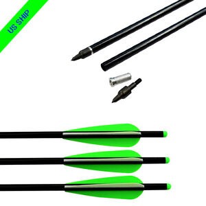 """6X 20/"""" Crossbow Bolts Archery Aluminum Arrows Moon Nock Hunting Points Removable"""