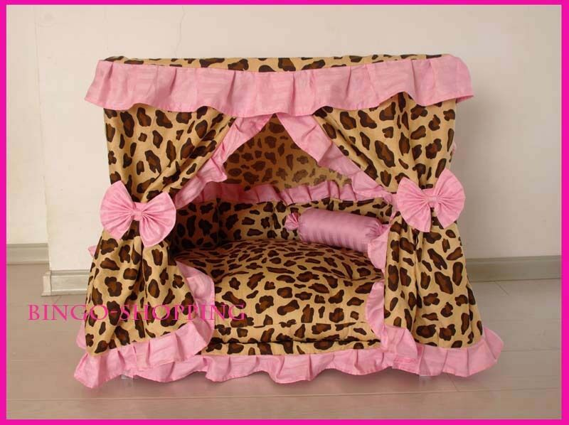 Charm Princess Pet Dog Cat Handmade Bed House Leopard rosa Small Medium Large