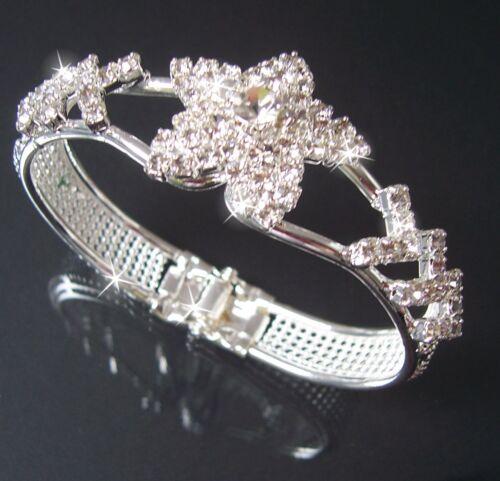 Armband Armreif Silber plattiert Stern Armspange 20cm SCHMUCK STRASS Damen A2003