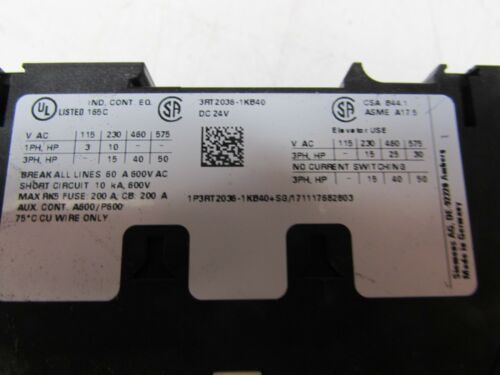 SIEMENS SIRIUS CONTACTOR 3RT2036-1KB40 600V 50//60HZ NICE MAKE OFFER