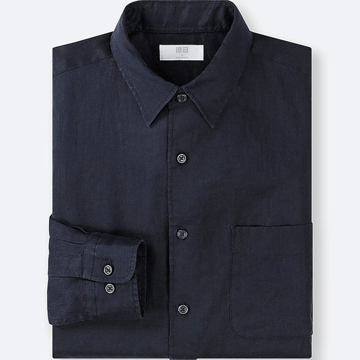 UNIQLO Men's 100% Premium French Linen Long-Sleeve Shirt L NAVY (69) NWT
