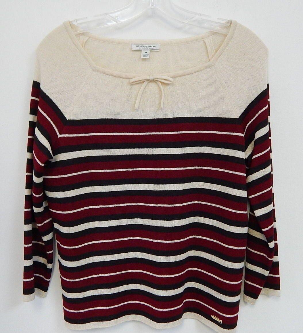 St John Sport Striped Santana Knit Sweater sz M