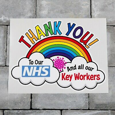 B Rainbow Window Wall Sticker Thank You NHS And Key Workers Charity Decal