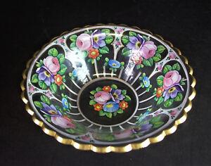 tolle-bemalte-Glasschale-um-1900-Blumen-amp-Goldrand