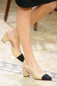 TIMELESS-CLASSIC-CHANEL-Two-Tone-Beige-Black-Leather-Slingbacks-Shoes-Pump-39