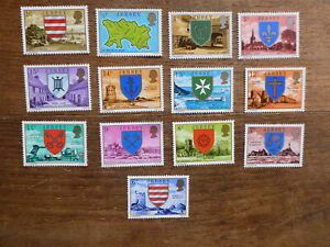 JERSEY-1976-COAT-OF-ARMS-SET-13-DEFINITIVE-MINT-STAMPS