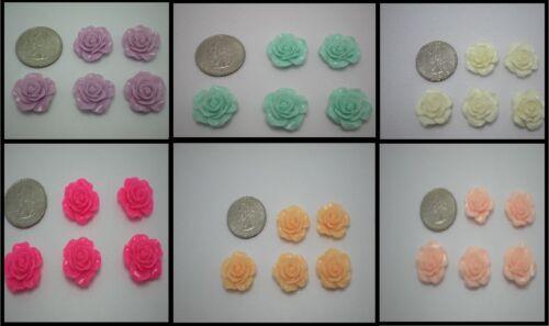 Lot of 5 Large Colored YOU CHOOSE Roses Cabochon//Flatback Resin Embellishments