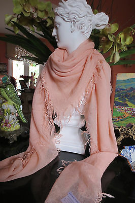 Chan Luu Cashmere/Silk Scarf Tropical Peach Is Light As A Feather  NEW!