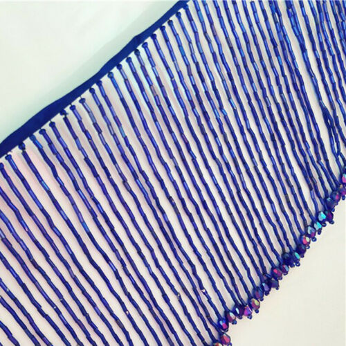Beaded Glass Tube Fringe Tassel Trim Ribbon Dance Costume Dress Lace By 1 Yard
