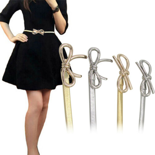 Femmes Métal Ceinture Noeud Fermoir Front Stretch Taille Sangle Skinny élastique Ceinture TB