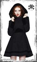 BLACK SOFIA HELL BUNNY VELVET TRIM HOODED WINTER COAT L XL 10 12 14 16 goth vtg