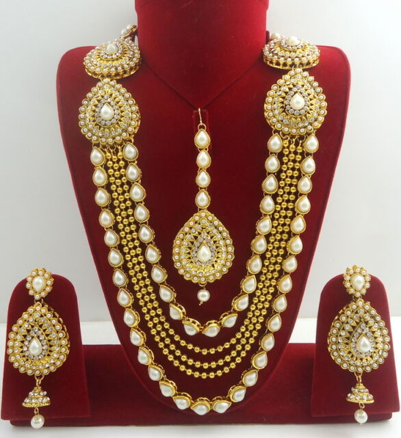 Indian Bridal Jewellery: White CZ Pearl Gold Tone Indian Bollywood Rani Haar